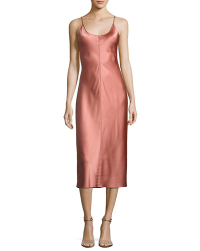 Sleeveless Satin Slip Dress W/ Threadwork, Pink