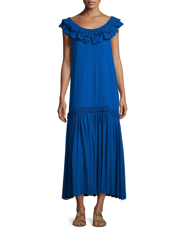 Silk Chiffon Ruffle Maxi Dress, Royal