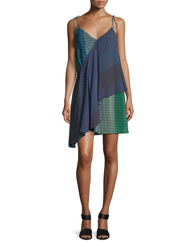 Foulard Printed Silk Wrap Dress, Green/Blue