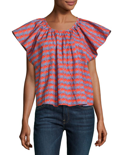 Printed Flutter Sleeve Cotton Top, Multi