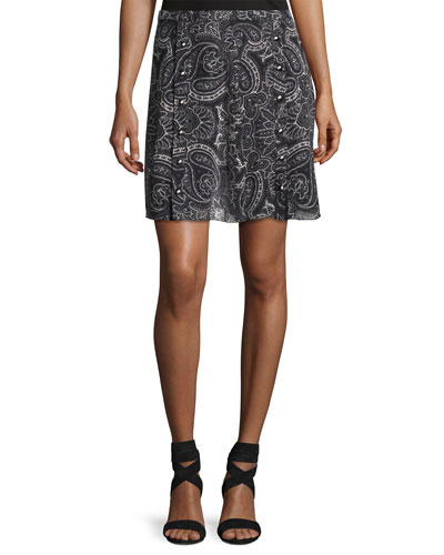 Paisley-Printed Silk Snap Skirt, Black