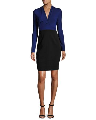 Heather Long-Sleeve Two-Tone Sheath Dress, Blue