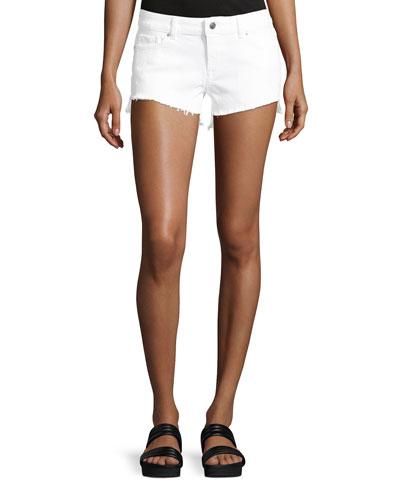 Renee Cutoff Denim Shorts, White