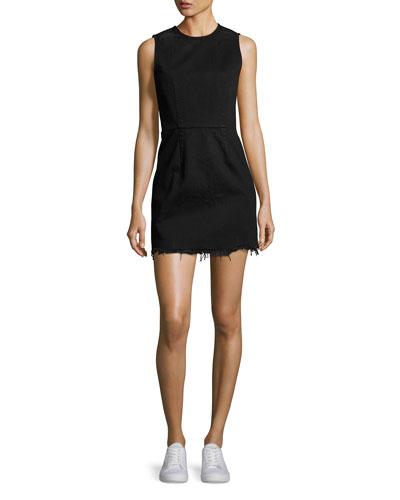 Faded Denim Zip-Back Mini Dress, Black