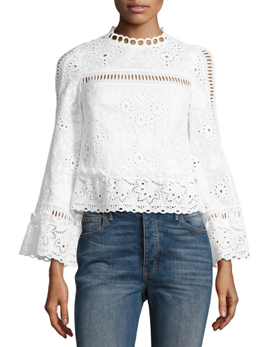 The Eyes Have It Cropped Poplin Eyelet Top, White
