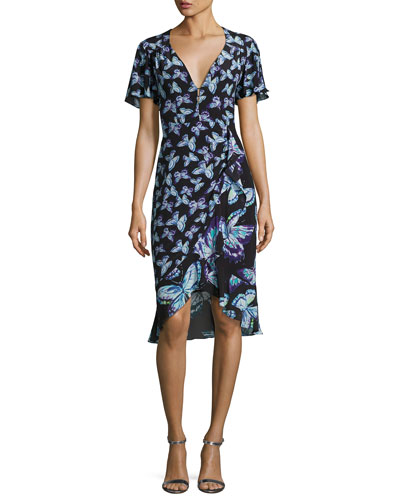 Mariposa Short-Sleeve Silk Butterfly Dress, Black