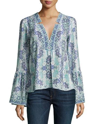 Dewdrop Long-Sleeve Silk Kaleidoscope Top, Purple/Blue/Multicolor