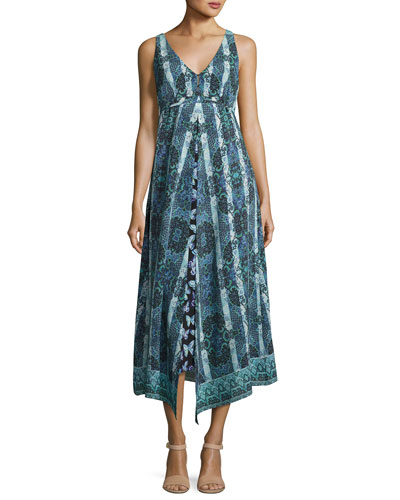Windswept Floral Silk Midi Sundress, Black/Blue