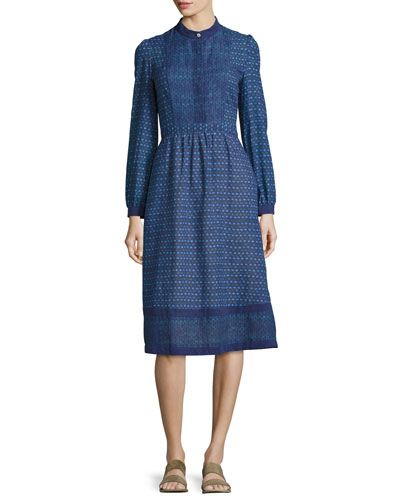 Romy Print Voile Dress, Blue