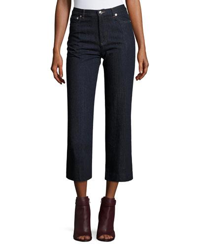 Sailor Cropped Denim Jeans, Indigo