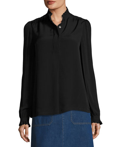 Evren Crepe Ruffle-Collar Blouse, Black