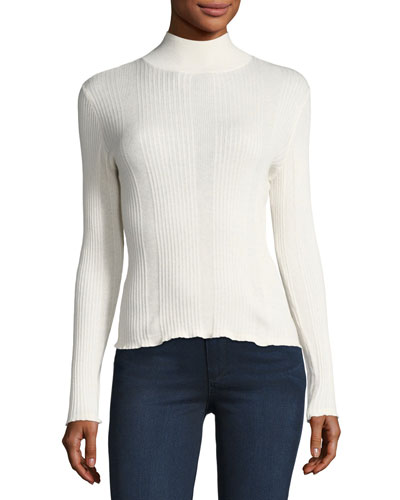 Knit Mock-Neck Sweater, White