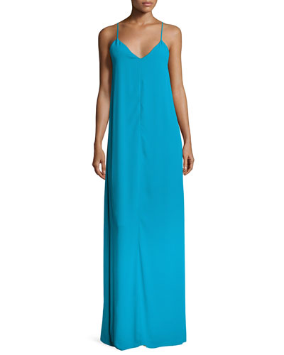 Reagan Side-Slit V-Neck Slip Dress