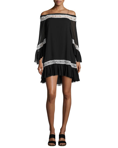 Willie Cold-Shoulder Bell-Sleeve Silk Dress