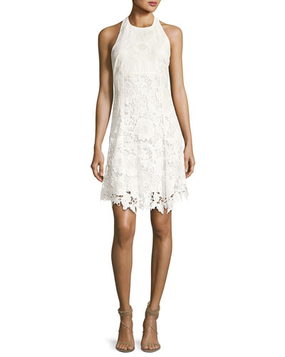Susan Embroidered Halter Flare Dress, Off-White