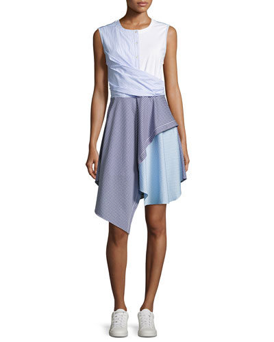 Cody Flare Striped Poplin Dress, Blue