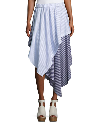 Cody Stripe Asymmetric Cotton Skirt, Blue