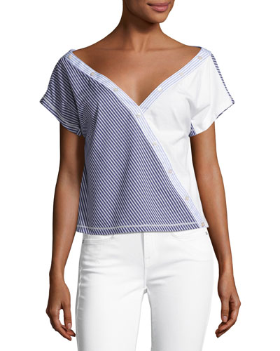 Cody Off-the-Shoulder Striped Poplin Top, Blue