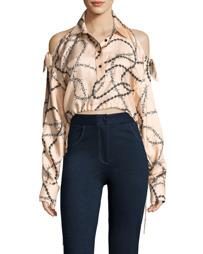 Cropped Cold-Shoulder Chain-Print Blouse