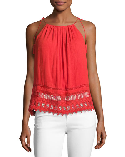 Danya Tie-Strap Cami Top, Bright Red