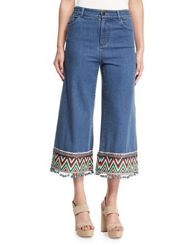 Beta Embroidered Pom-Pom Hem Cropped Jeans, Multi