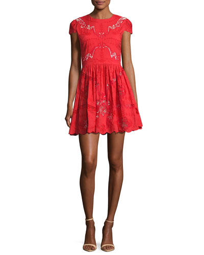 Karen Embroidered Party Dress, Bright Red