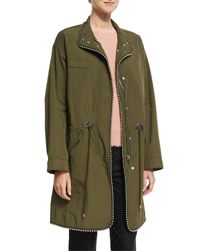 Oversized Parka with Ball Chain Trim, Green