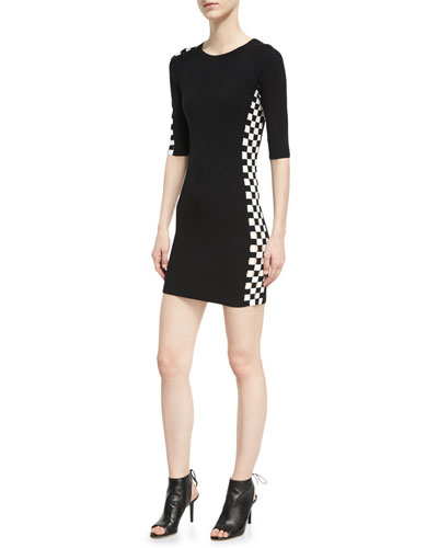 Checkerboard-Paneled Mini Dress, Black/White
