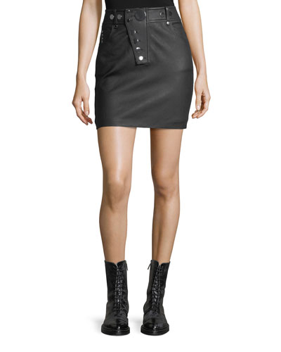 High-Waist Leather Mini Skirt