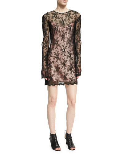 Long-Sleeve Pleated Lace Dress, Onyx