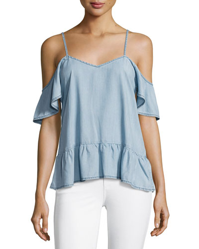 Mitzi Cold-Shoulder Chambray Top, Indigo