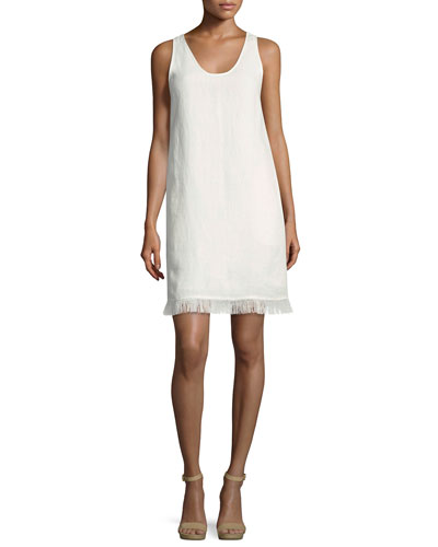 Oekel Linen Drape Dress, White