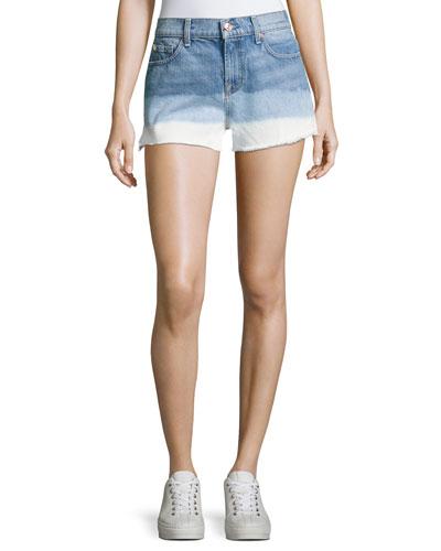 High-Waist Cutoff Shorts, Indigo