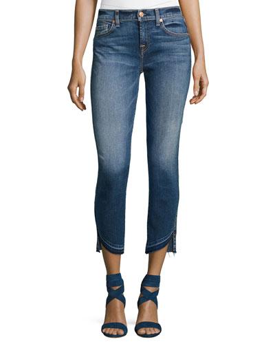 Roxanne Ankle Jeans w/ Asymmetric Released Hem, Indigo