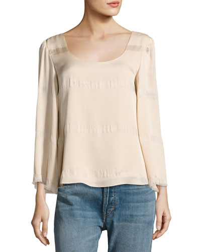 Jesper Scoop Neck Fringe Top, Blush
