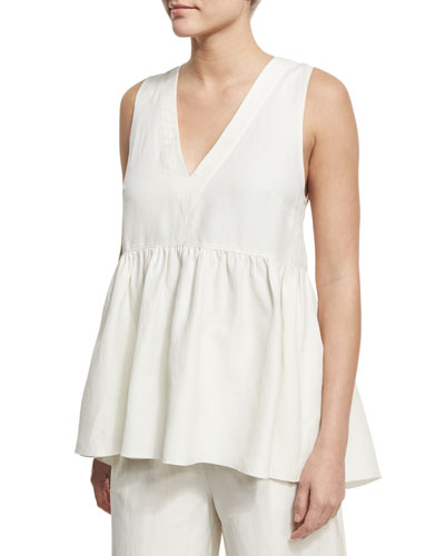 Gabby Deep V-Neck Ruched Top, Ivory