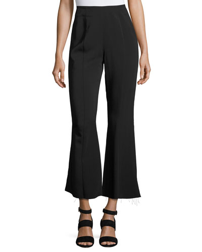 Carel Fit & Flare Side-Zip Cropped Pant, Black