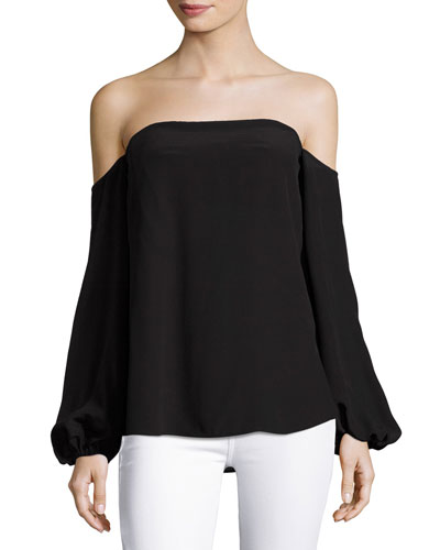 Laureema Mosaic Silk Top, Black