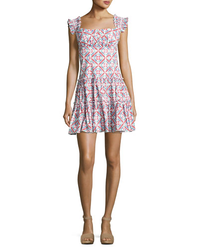 Maria Square-Neck Tiered Mini Dress, Pink