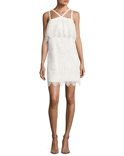 Abergreen Embroidered Organza Mini Dress, White