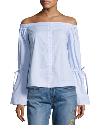 Allington Off-the-Shoulder Cotton Top, Blue