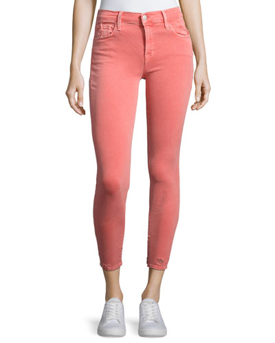835 Mid-Rise Capri Glowing Jeans, Coral