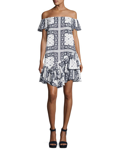 Minella Off-the-Shoulder Paisley Dress, Multi