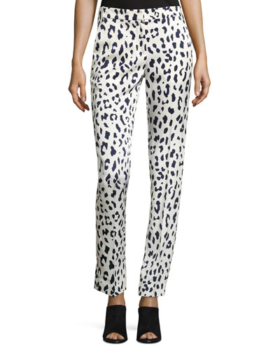 Cheetah-Print Satin Pants, Ivory