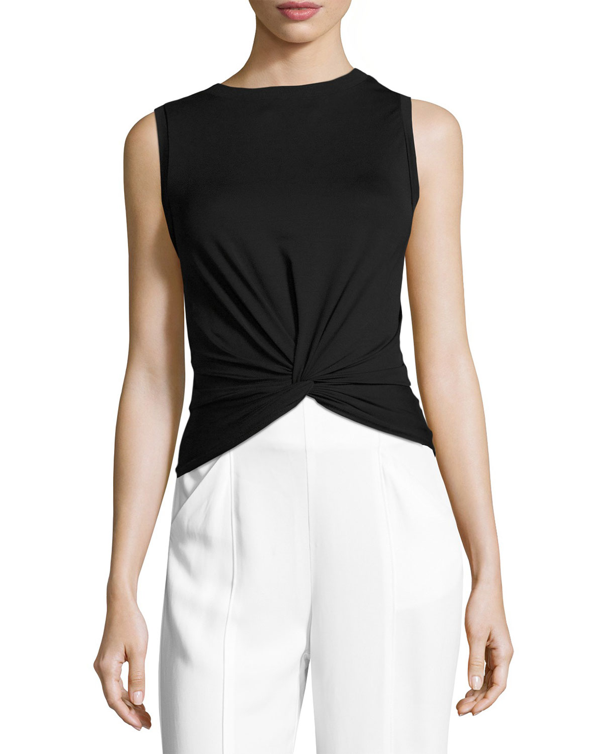 Lennon Knotted Sleeveless Top, Black