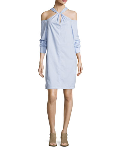 Collingwood Long-Sleeve Cold-Shoulder Dress, Blue