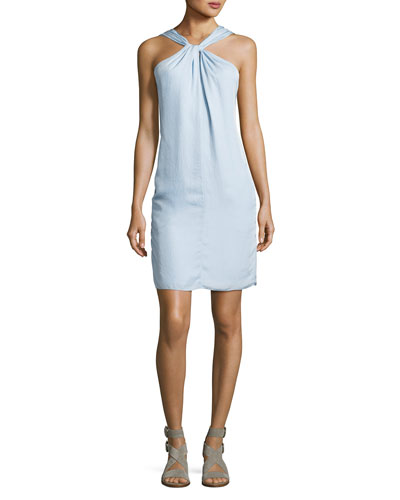 Collingwood Knotted Halter Dress, Blue
