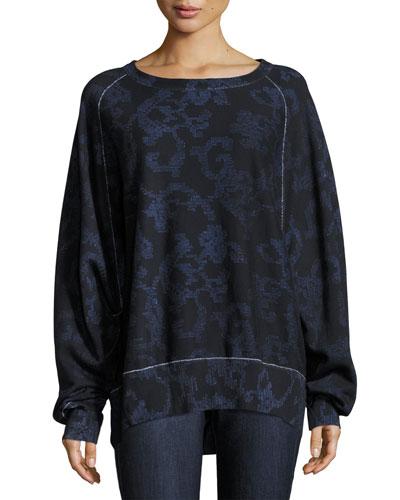 Max Printed Pullover Sweatshirt, Indigo