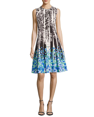 Sleeveless Paisley & Floral Ponte Dress, Multicolor