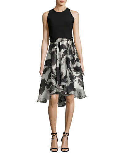Sleeveless Solid Ponte & Floral Silk Cocktail Dress, Ivory/Black
